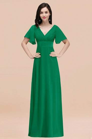 BMbridal Affordable V-Neck Ruffle Long Burgundy Bridesmaid Dress With Short-Sleeves_49