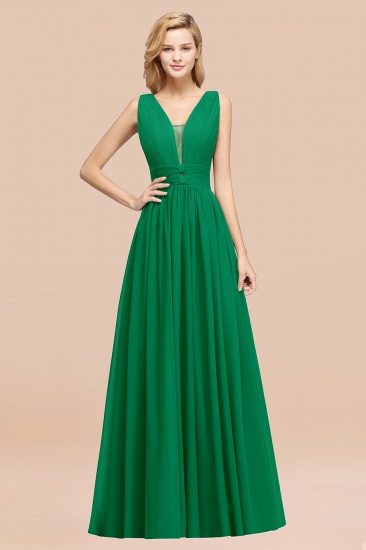 BMbridal Modest Dark Green Long Bridesmaid Dress Deep V-Neck Chiffon Maid of Honor Dress_49