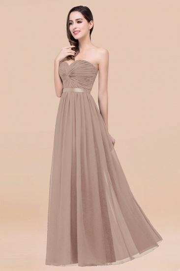 BMbridal Affordable Sweetheart Ruffle Navy Chiffon Bridesmaid Dress With Ribbon_16