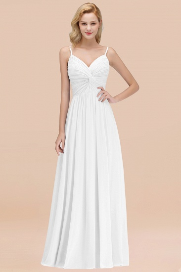 BMbridal Chic V-Neck Pleated Backless Bridesmaid Dresses with Spaghetti Straps_1