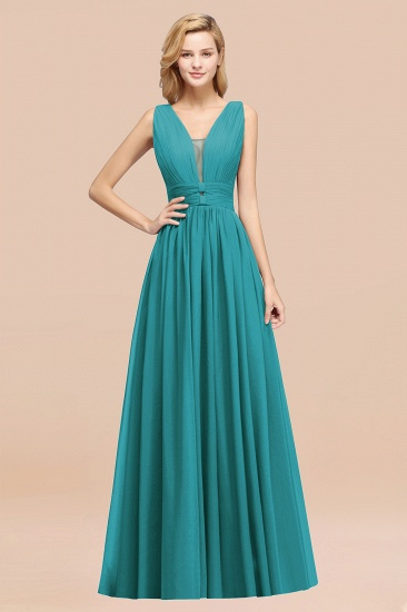 BMbridal Modest Dark Green Long Bridesmaid Dress Deep V-Neck Chiffon Maid of Honor Dress_32