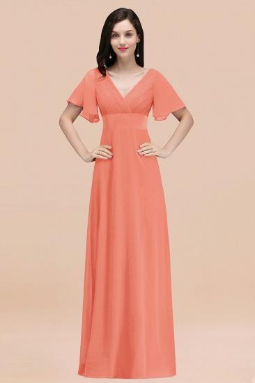 BMbridal Affordable V-Neck Ruffle Long Burgundy Bridesmaid Dress With Short-Sleeves_45