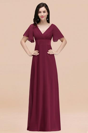 BMbridal Affordable V-Neck Ruffle Long Burgundy Bridesmaid Dress With Short-Sleeves_44