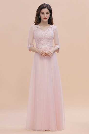 Elegant V-neck Half Sleeves Lace Pink Bridesmaid Dress On Sale
