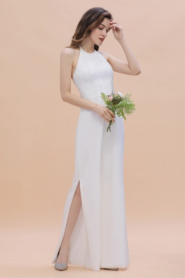 BMbridal Sexy Halter Backless Lace Bridesmaid Jumpsuit with Slits On Sale_8