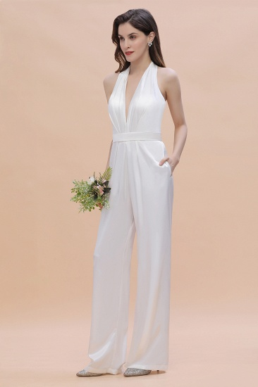 BMbridal Sexy Deep-V-Neck Halter Backless Charmeuse Bridesmaid Dress Online_6