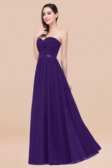 BMbridal Affordable Sweetheart Ruffle Navy Chiffon Bridesmaid Dress With Ribbon_19