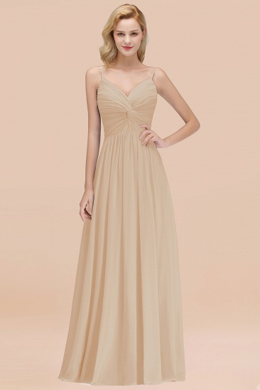 BMbridal Chic V-Neck Pleated Backless Bridesmaid Dresses with Spaghetti Straps_14