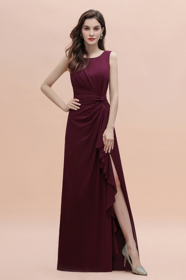 Chic Jewel Cabernet Chiffon Ruffles Bridesmaid Dress with Slit On Sale