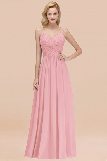 BMbridal Chic V-Neck Pleated Backless Bridesmaid Dresses with Spaghetti Straps_4