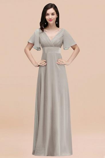 BMbridal Affordable V-Neck Ruffle Long Burgundy Bridesmaid Dress With Short-Sleeves_30