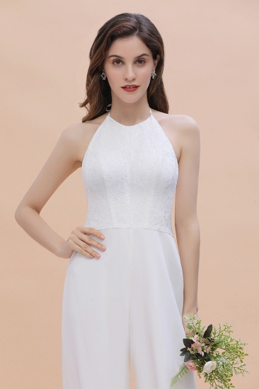 BMbridal Sexy Halter Backless Lace Bridesmaid Jumpsuit with Slits On Sale_9