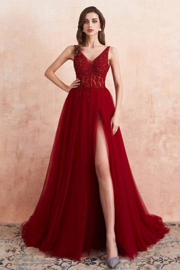 BMbridal Burgundy V-Neck Sleeveless Long Evening Dress With Split Lace Appliques