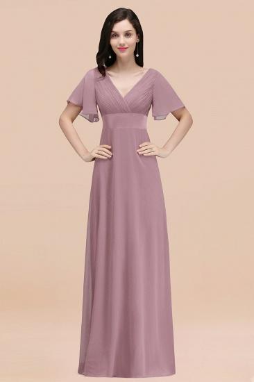 BMbridal Affordable V-Neck Ruffle Long Burgundy Bridesmaid Dress With Short-Sleeves_43
