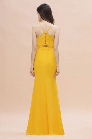 BMbridal Gorgeous Spaghett Straps V-Neck Chiffon Lace Bridesmaid Dress Online_3