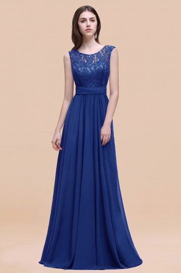 BMbridal Vintage Lace Scoop Sleeveless Dark Blue Bridesmaid Dress with V-Back_26
