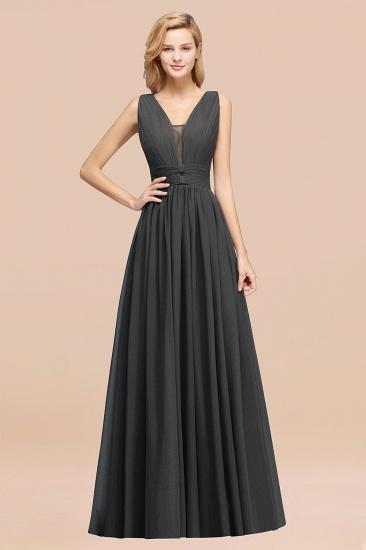BMbridal Modest Dark Green Long Bridesmaid Dress Deep V-Neck Chiffon Maid of Honor Dress_46