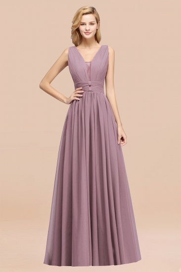 BMbridal Modest Dark Green Long Bridesmaid Dress Deep V-Neck Chiffon Maid of Honor Dress_43