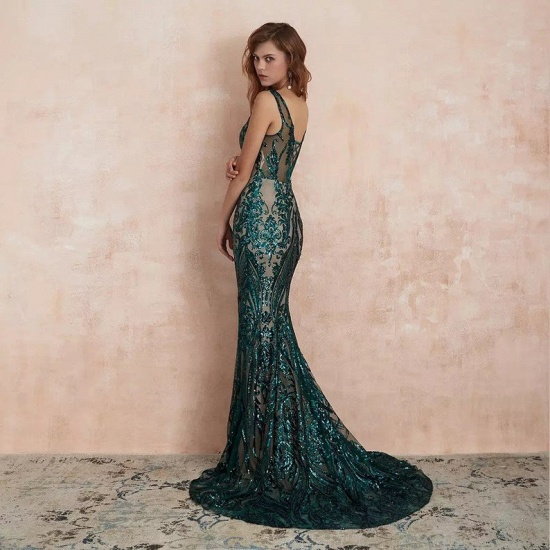 BMbridal Glamorous Green Sequins Mermaid Evening Gowns Long V-Neck Prom Dress On Sale_6