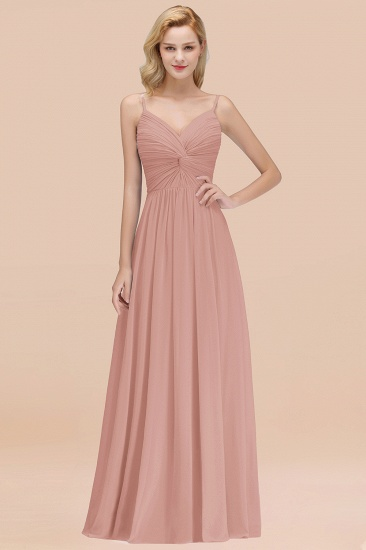 BMbridal Chic V-Neck Pleated Backless Bridesmaid Dresses with Spaghetti Straps_6
