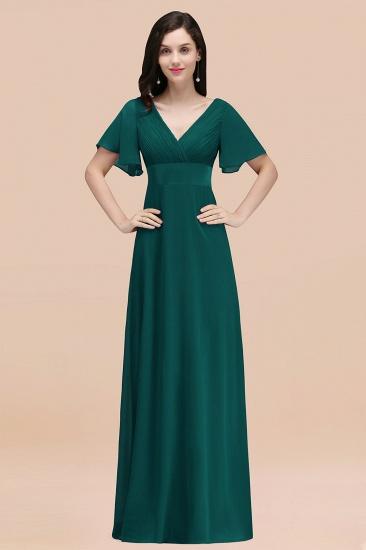 BMbridal Affordable V-Neck Ruffle Long Burgundy Bridesmaid Dress With Short-Sleeves_33