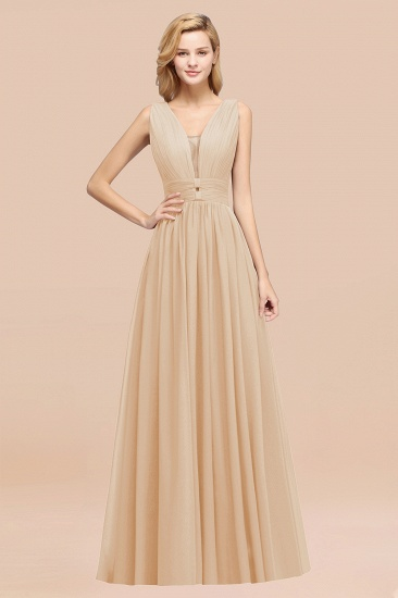 BMbridal Modest Dark Green Long Bridesmaid Dress Deep V-Neck Chiffon Maid of Honor Dress_14