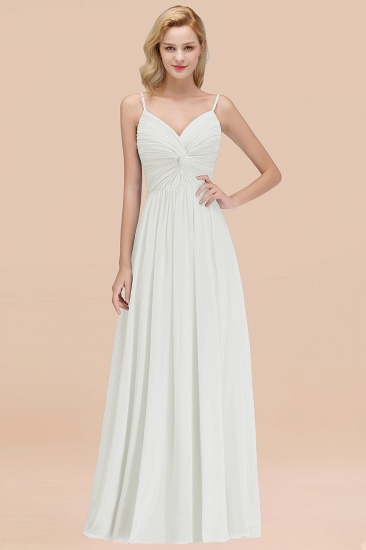 BMbridal Chic V-Neck Pleated Backless Bridesmaid Dresses with Spaghetti Straps_2