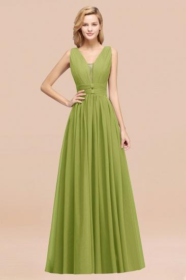BMbridal Modest Dark Green Long Bridesmaid Dress Deep V-Neck Chiffon Maid of Honor Dress_34