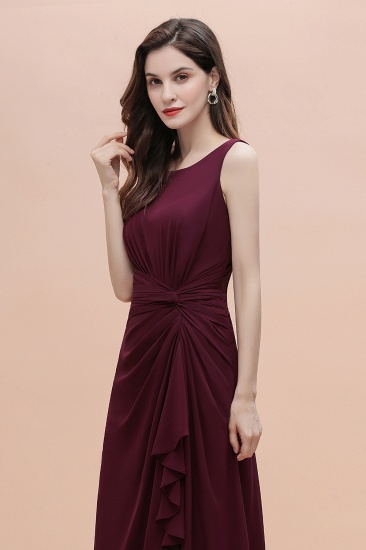 BMbridal Chic Jewel Cabernet Chiffon Ruffles Bridesmaid Dress with Slit On Sale_7