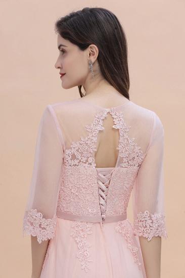 BMbridal Elegant V-neck Half Sleeves Lace Pink Bridesmaid Dress On Sale_9