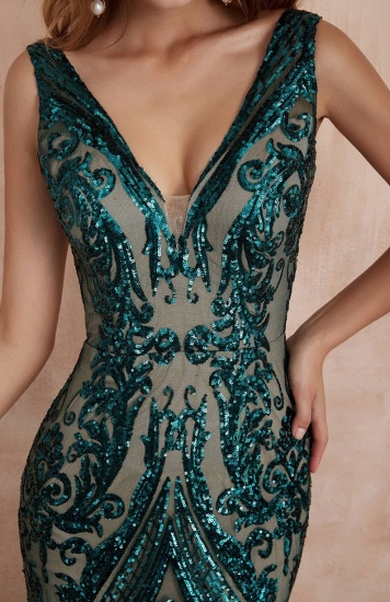 BMbridal Glamorous Green Sequins Mermaid Evening Gowns Long V-Neck Prom Dress On Sale_8