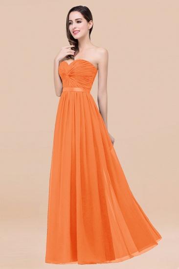 BMbridal Affordable Sweetheart Ruffle Navy Chiffon Bridesmaid Dress With Ribbon_15