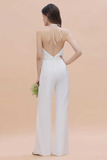 BMbridal Sexy Halter Backless Lace Bridesmaid Jumpsuit with Slits On Sale_3