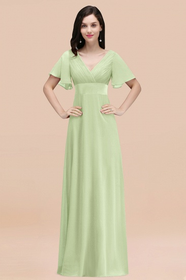 BMbridal Affordable V-Neck Ruffle Long Burgundy Bridesmaid Dress With Short-Sleeves_35