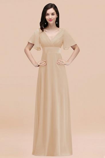 BMbridal Affordable V-Neck Ruffle Long Burgundy Bridesmaid Dress With Short-Sleeves_14