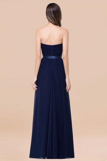 BMbridal Affordable Sweetheart Ruffle Navy Chiffon Bridesmaid Dress With Ribbon_52