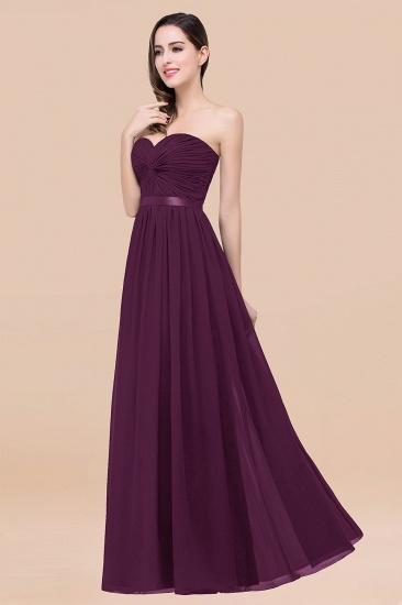 BMbridal Affordable Sweetheart Ruffle Navy Chiffon Bridesmaid Dress With Ribbon_20