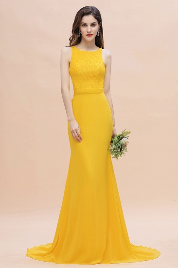 BMbridal Elegant Jewel Mermaid Chiffon Lace Bridesmaid Dress On Sale_7