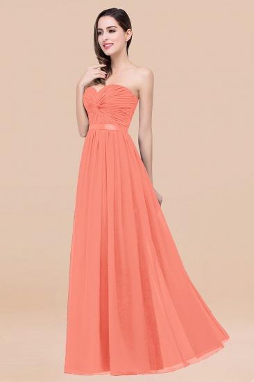 BMbridal Affordable Sweetheart Ruffle Navy Chiffon Bridesmaid Dress With Ribbon_45