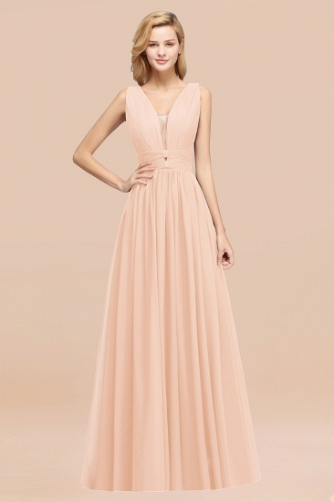 BMbridal Modest Dark Green Long Bridesmaid Dress Deep V-Neck Chiffon Maid of Honor Dress_5
