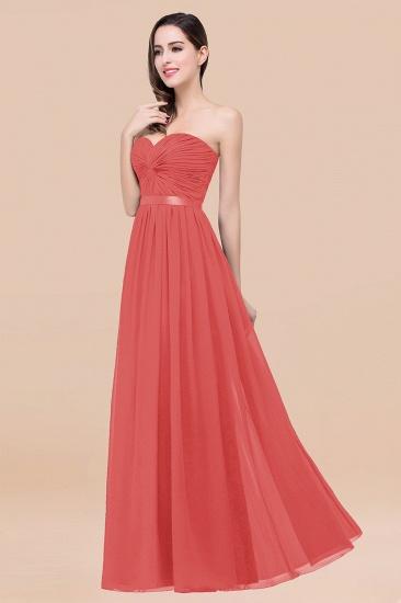 BMbridal Affordable Sweetheart Ruffle Navy Chiffon Bridesmaid Dress With Ribbon_7