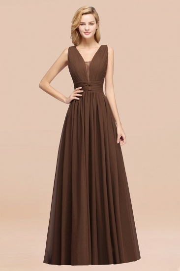 BMbridal Modest Dark Green Long Bridesmaid Dress Deep V-Neck Chiffon Maid of Honor Dress_12