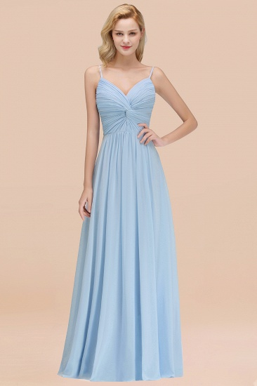 BMbridal Chic V-Neck Pleated Backless Bridesmaid Dresses with Spaghetti Straps_23