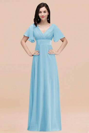 BMbridal Affordable V-Neck Ruffle Long Burgundy Bridesmaid Dress With Short-Sleeves_23
