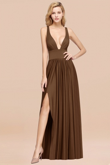 BMbridal Sexy Deep V-Neck Sleeveless Bridesmaid Dress Burgundy Chiffon Wedding Party Dress_11