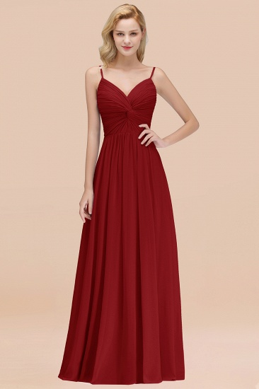 BMbridal Chic V-Neck Pleated Backless Bridesmaid Dresses with Spaghetti Straps_48