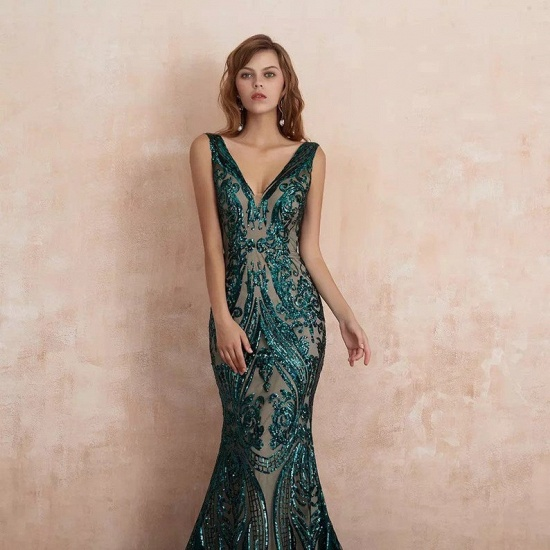 BMbridal Glamorous Green Sequins Mermaid Evening Gowns Long V-Neck Prom Dress On Sale_3
