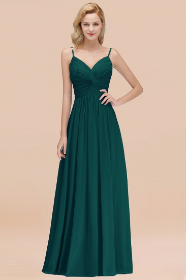 BMbridal Chic V-Neck Pleated Backless Bridesmaid Dresses with Spaghetti Straps_33
