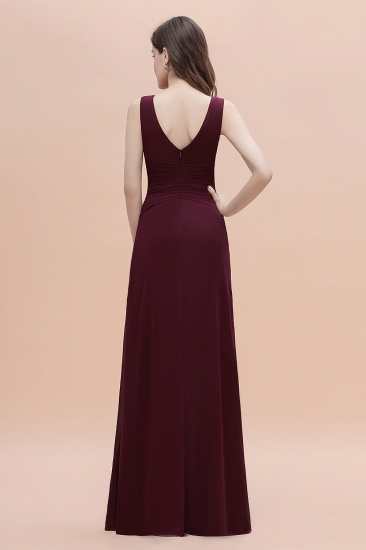 BMbridal Chic Jewel Cabernet Chiffon Ruffles Bridesmaid Dress with Slit On Sale_3