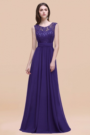 BMbridal Vintage Lace Scoop Sleeveless Dark Blue Bridesmaid Dress with V-Back_19